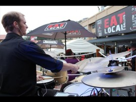 Beat-Route drummer Devon Hore rolling the skins on Sunday.