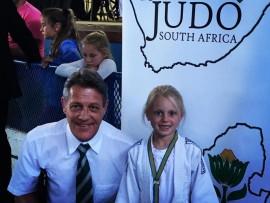 Grade R Umhlali pupil Tori Pearson with coach John Tresize from Shihan Judo Academy.