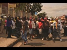 Etete community protesting outside KwaDukuza Court