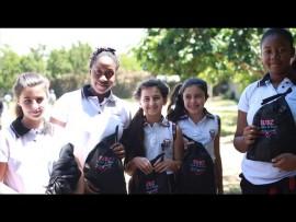 Crawford pupils Jessica Broom, Tsabile Hlatshwayo, Gabriella Broom, Danica Morais and Melissa Lukombo with their Subz hampers.