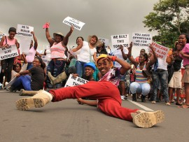 Unemployed Stanger youth marched peacefully but energeticlly through the streets of Stanger to voice their dissatisfaction with the high unemployment rate.