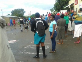 Nkobongo residents cannot get to school and work as protesters have closed all main roads in and out of the township.
