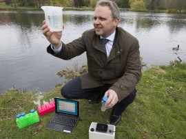 John Bridgeman at the University of Birmingham with the water testing equipment.