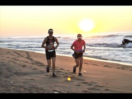 Chasing the sun: Lisa Collett and Colleen Mcgrath on a mission to finish the 23km race.