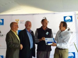 Two eThekweni beaches received Blue Flag awards on Friday while not a single KwaDukuza beach was mentioned. (From left) Minister of Tourism Derek Hanekom, DA Councillor Geoff Pullan, Bruce Blake and the CEO of WESSA Dr Thommie Burger.