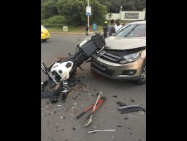 The scene on Thursday afternoon of a horrible crash in Ballito Drive that left one man dead.