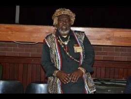 Traditional healer Thengindaba Mkhize speaking at a meeting at KwaDukuza town hall.