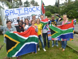 Ballito residents at Salt Rock beach this morning as part of the national #SaveSouthAfrica campaign.