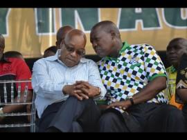 ANC Treasurer Zweli Mkhize shares a quiet word with Jacob Zuma.