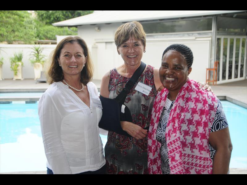 Business leader Carol Church, life coach Terry Dearling and headmistress Thembi Mthembu from Dr BW Vilikazi Primary School.