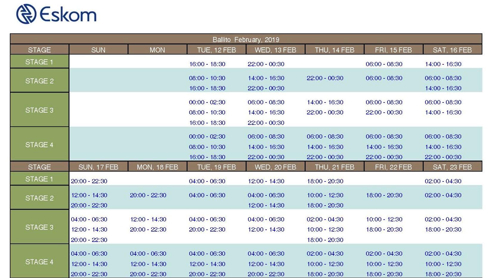Load Shedding Schedule 2019 Picture: POWER ALERT: Stage 2 Loadshedding