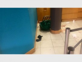 Photo: SAPS Official Facebook pageThe aftermath of a shootout that occurred at the FNB branch at the Oriental Plaza on 3 July