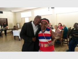 Performer Julia Margqu is joined by her son Sihle Manana at Thembalami Care Centre's monthly birthdays bash.