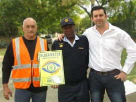 Daniel Venter of Blockwatch, Warrant Officer Mahlaume Mamabolo of Sandringham Police Station and Kenneth Collett of Lombardy East Community Policing Forum.