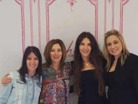 Shana Sassen and Raelene Tradonsky with Karen Schneid Lieberman and Angelique Levin, both from Ooh La La, at the King David Schools' Dynamic Davidian event held at the school in Linksfield.
