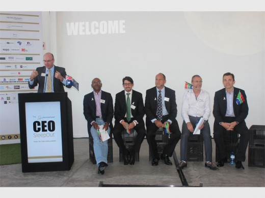 Various leaders at the launch of this year's CEO SleepOut, taking place on the Nelson Mandela Bridge this week.