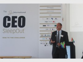 Sun International chief executive officer, Graeme Stephens speaks at the launch of the CEO SleepOut in Braamfontein.