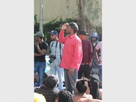 Former Wits SRC president Ncebo Dlamini addresses students.