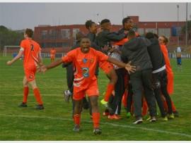 Photo by: Frikkie Kapp /SASPA Sbongeleni Gamede of UJ celebrates during the Varsity Football semifinal match against Central University of Technology.