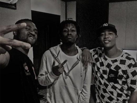 Hip-hop sensation Reason, Yung Swiss and DJ Speedsta in studio.