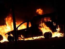 Police van set ablaze by students in Braamfontein.