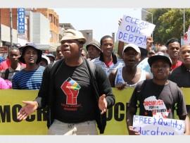 Students marching along Stanza Bopape Street. Photo: Ron Sibiya