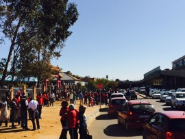 Shoppers and workers were evacuated from the Grove Mall on Friday after a bomb scare. PHOTO: Supplied