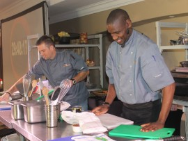 Two chefs, Jelele Mokhine and Dylan Jonsson competing in the cook-off.