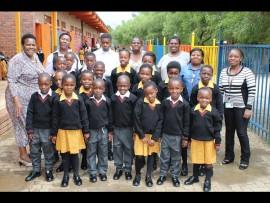 Excited pupils of Mveledzo Primary School in their new school uniforms. Photo Stephen Selaluke.