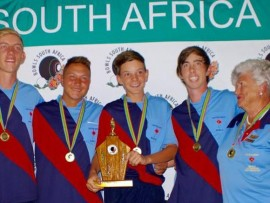 The Bowls Gauteng North u.19 A-team with their manager Francis Channer on the right.