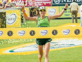Ellie Greenwood in action in 2014, when so won the woman's division of the Comrades marathon. Photo: Nedbank Running Club