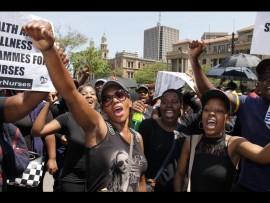 Young Nurses Indaba members on the march. PHOTO: Ron Sibiya