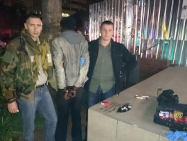 Sergeant Gregory Dodgen and Constable Schalk Rossouw arrested a drug dealer in Hatfield. Photo: Supplied