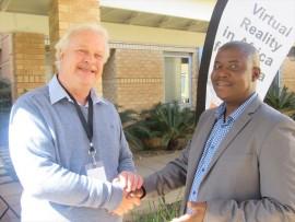 Tshwane IDC director Dave Lockwood and Tshwane metro group information officer Dumisani Otumile at the launch of the Tshwane Interactive digital centre in Hatfield on Tuesday.  PHOTO: Tshegofatso Ngobeni