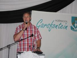 Die gewilde afrigter van die Leeus en die Suid-Afrikaanse 'A'-span, Johan Ackerman, was vanjaar die spreker by die Hoërskool Garsfontein se jaarlikse besigheidsontbyt. Foto: Koos Venter