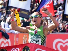 This year's female winner of the Comrades Marathon, Charné Bosman, will participate Sunday in the first Forest Hill City Summer Race. Photo: Twitter