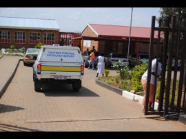 The Gauteng forensic pathology service vehicle entering Bula-Dikgoro primary school after a pupil was stabbed to death.