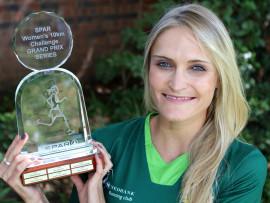 Winner of the 2016 SPAR GRAND PRIX Irvette van Zyl (Nedbank) with her trophy.  Photo: Reg Caldecott