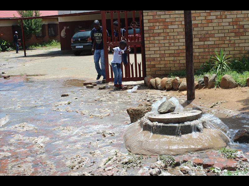 Blocked sewage at Tlakukani Primary School.
