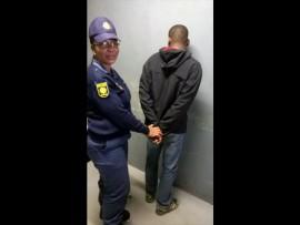 Constable Josephine Tselenyane with the suspect.