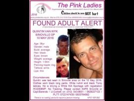 Quintin Van Wyk has been found. Photo: Supplied