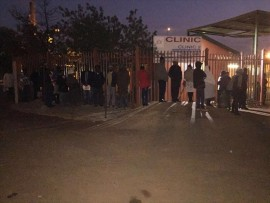 Soshanguve residents queue patiently in the early hours of the morning outside Clinic 2 in Block G. Photo: Angie Mbombi