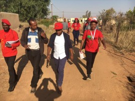 Omphile Maote and Mbuyiseni Ndlozi on the campaign trail in the Tshwane metro townships this week.
