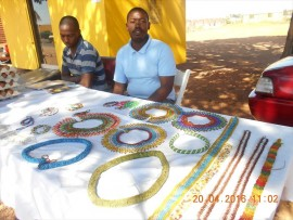 Pupils at Soshad sell their beadwork outside the centre in Soshanguve, Block H. Photo: Tshegofatso Magolego
