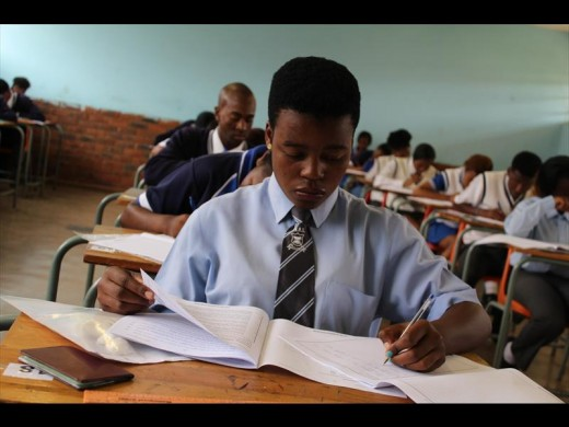 Pupils from Soshanguve High School writing their first exams.