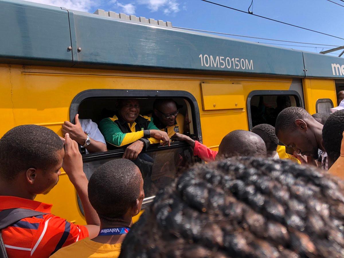 Ramaphosa gets stuck on train