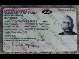 The driver's license of the man identified only as ME Mphateme.