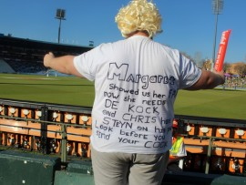 Proteas fan celebrating during a test match between SA and New Zealand.