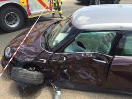 A light vehicle crashed into a taxi.  Photos: ER24