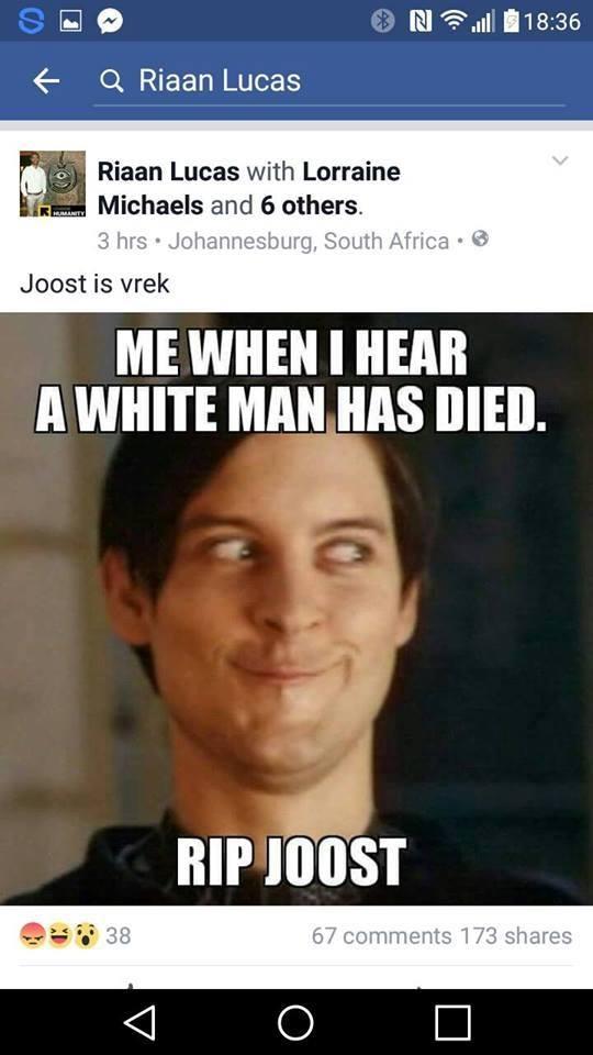 rian update sahrc to meet meme 'racist' centurion rekord